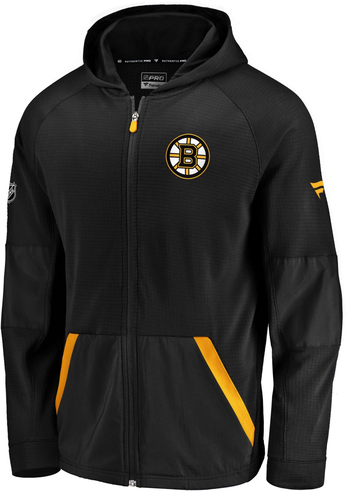 NHL Men's Boston Bruins Authentic Pro Rinkside Gridback Black Full-Zip Hoodie