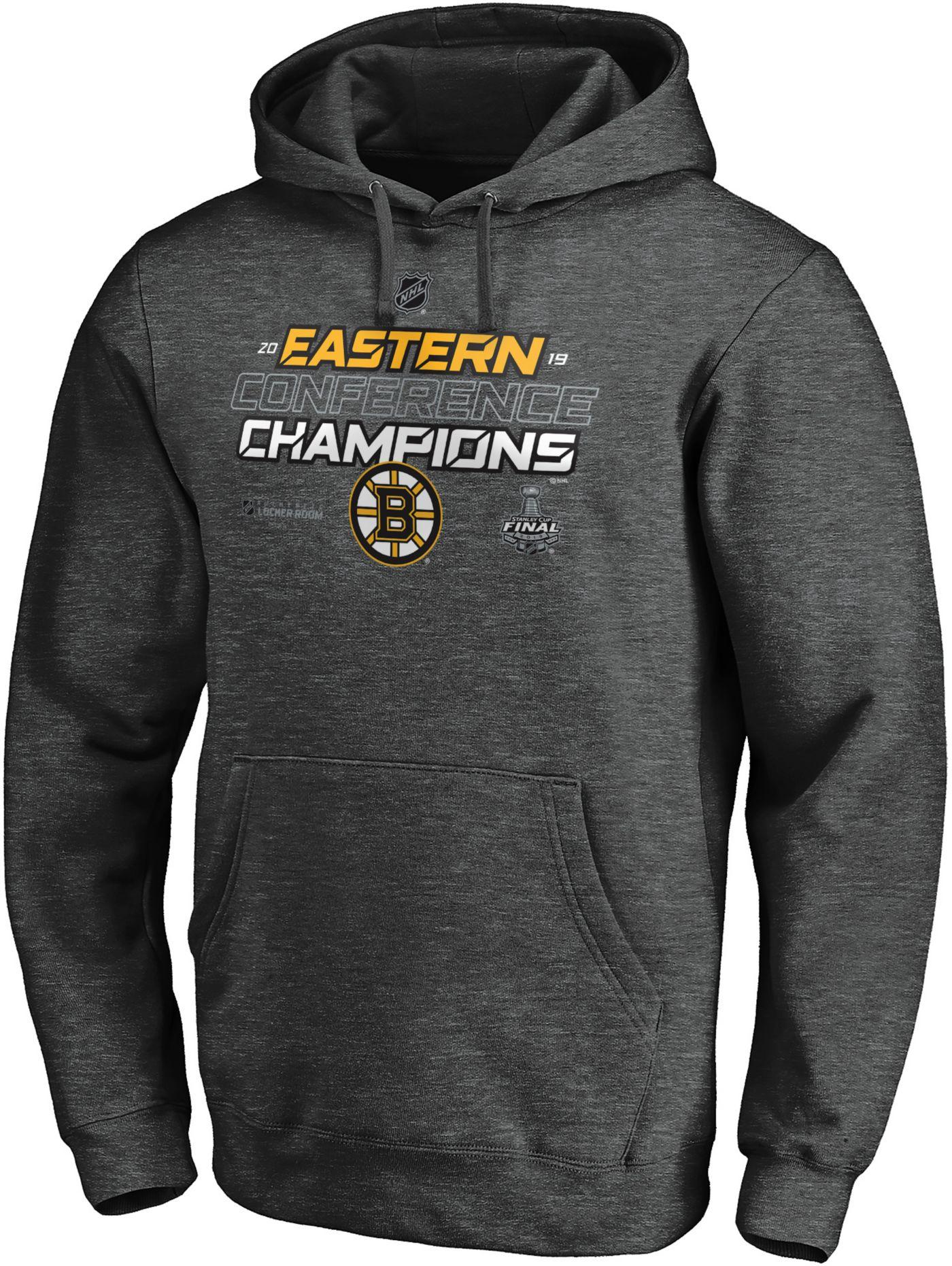 NHL Men's 2019 NHL Eastern Conference Champions Boston Bruins Locker Room Pullover Hoodie