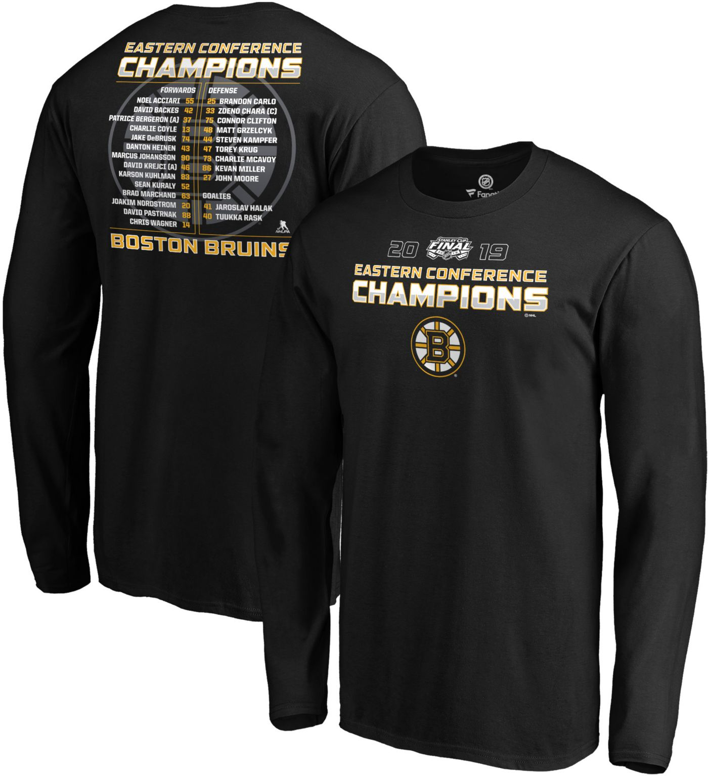 NHL Men's 2019 NHL Eastern Conference Champions Boston Bruins Roster Long Sleeve Shirt
