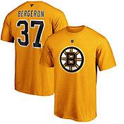 NHL Men's Boston Bruins Patrice Bergeron #37 Gold Player T-Shirt