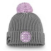 NHL Women's Boston Bruins Hockey Fights Cancer Pom Knit Beanie