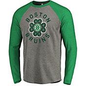 NHL Men's 2019 St. Patrick's Day Boston Bruins Luck Green Long Sleeve Shirt