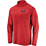 NHL Men's Washington Capitals Logo Red Heathered Quarter-Zip Pullover