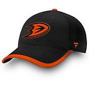 NHL Men's Anaheim Ducks Stripe Trucker Black Snapback Adjustable Hat