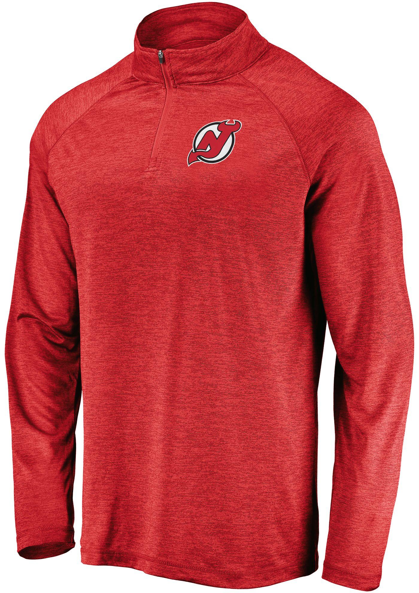 NHL Men's New Jersey Devils Logo Red Heathered Quarter-Zip Pullover