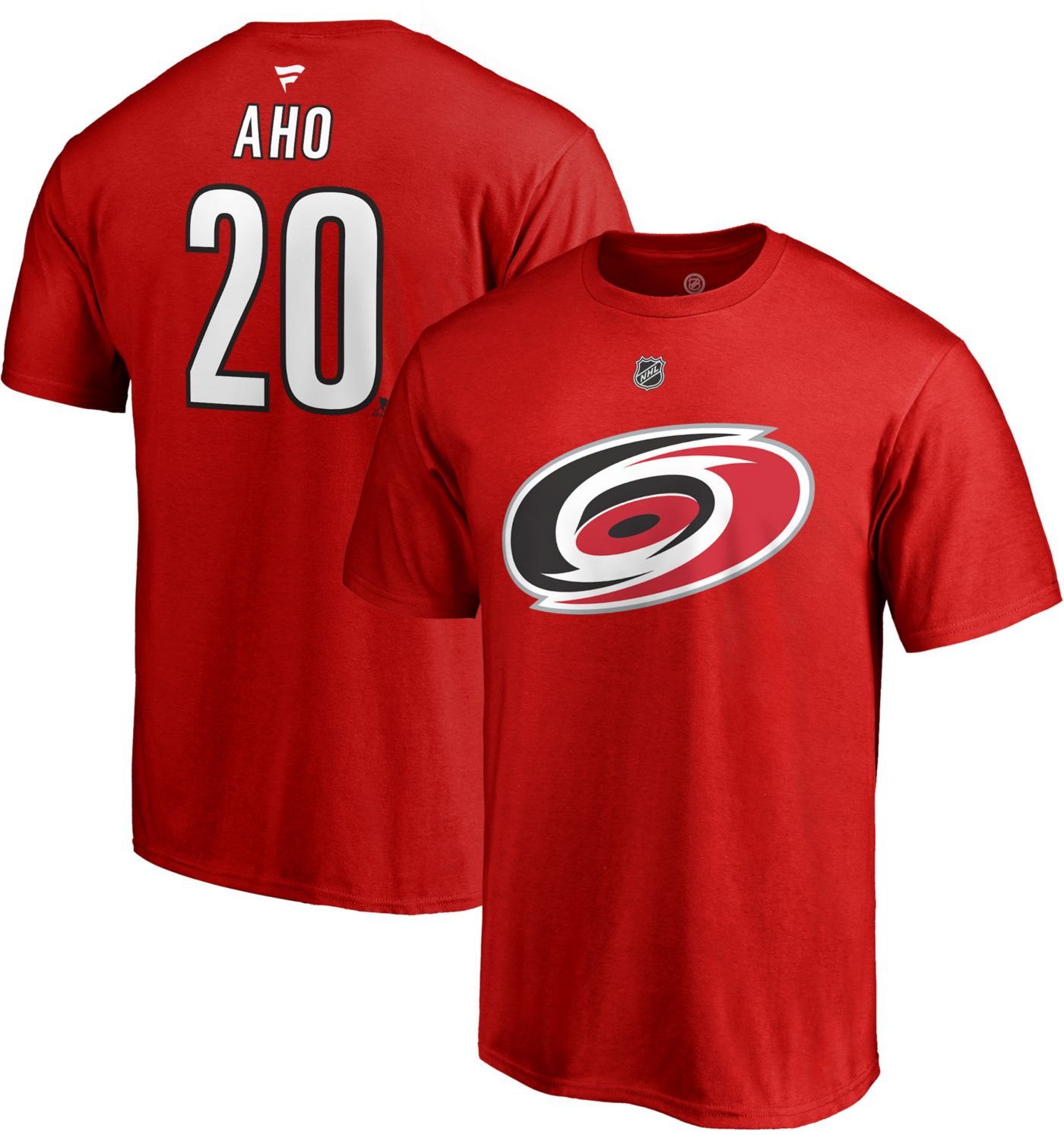 NHL Men's Carolina Hurricanes Sebastian Aho #20 Red Player T-Shirt