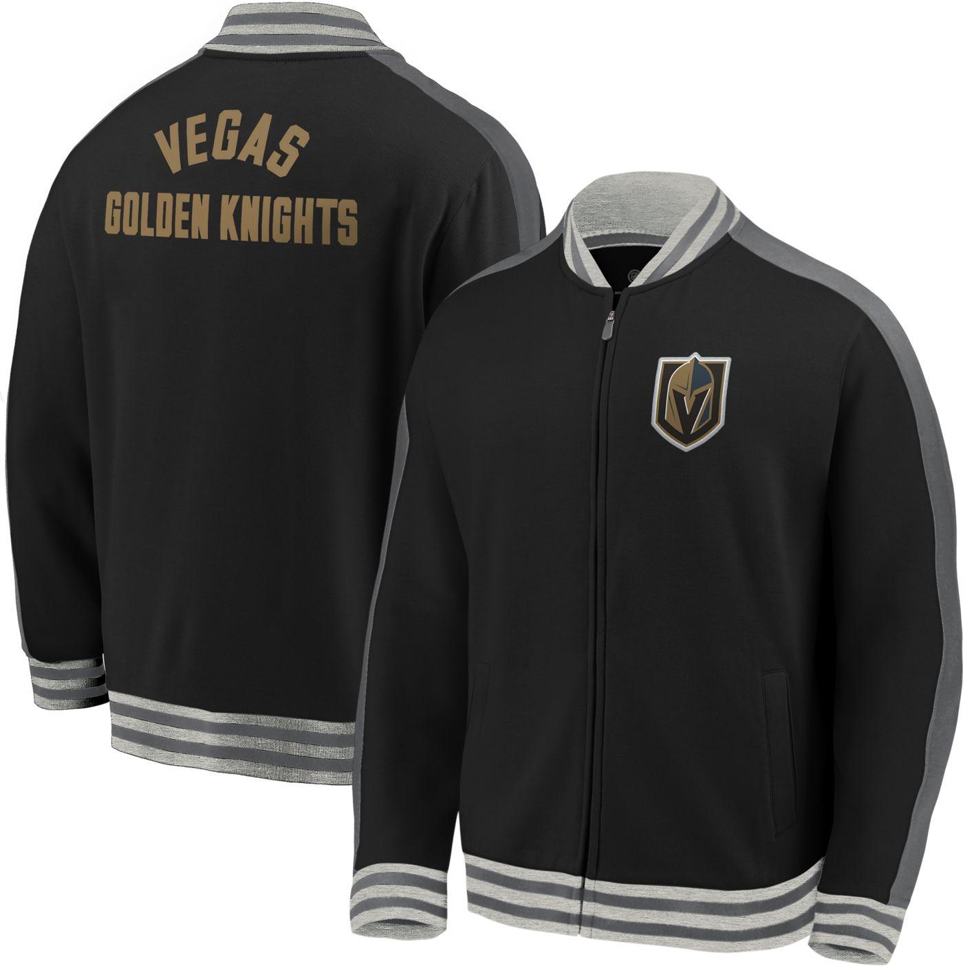 NHL Men's Vegas Golden Knights Varsity Black Full-Zip Track Jacket