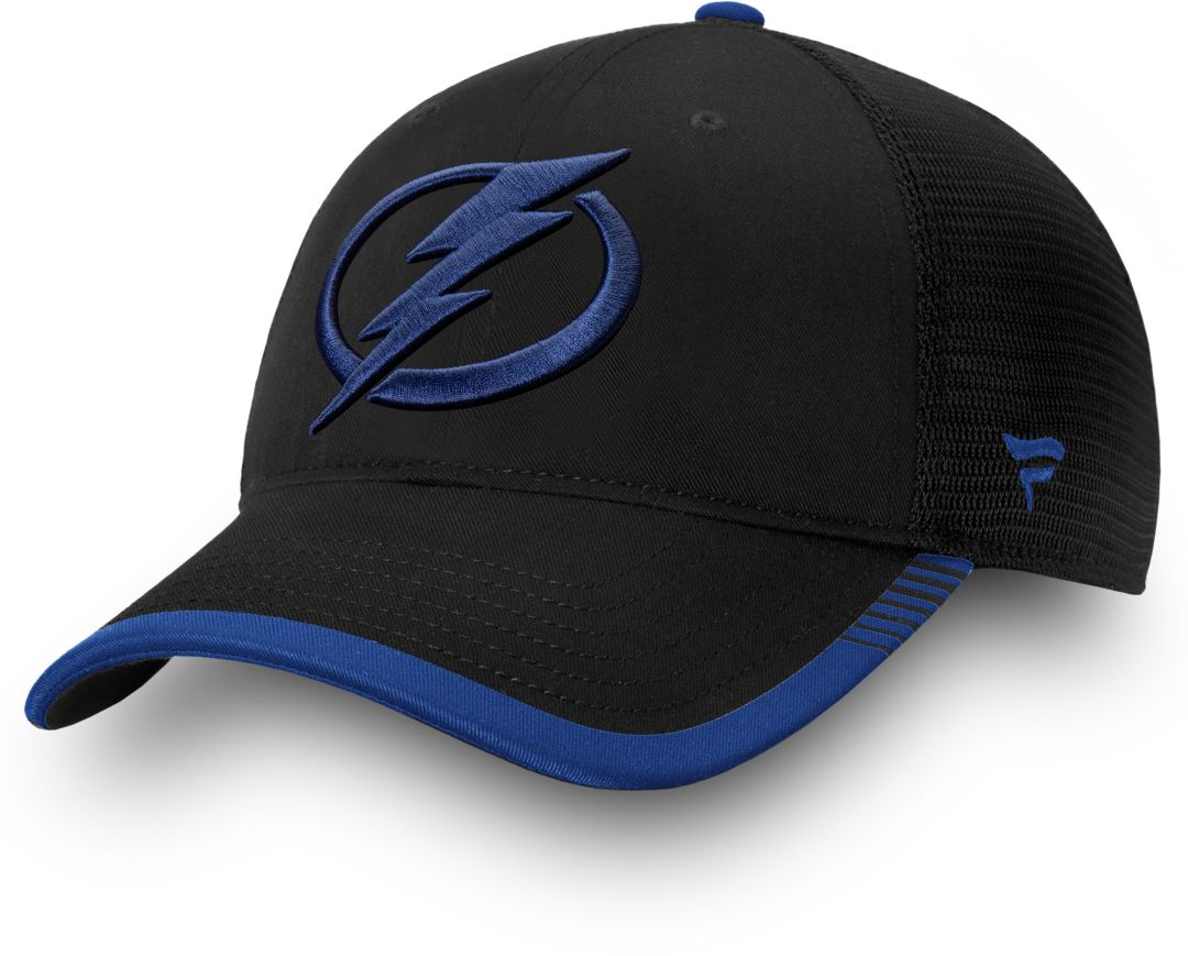 best service 8200f 7687e NHL Men s Tampa Bay Lightning Stripe Trucker Blue Snapback Adjustable Hat 1