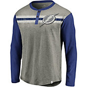 NHL Men's Tampa Bay Lightning Stripe Heather Grey/Blue Henley Shirt