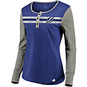 NHL Men's Tampa Bay Lightning Logo Royal Henley Shirt