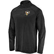 NHL Men's Pittsburgh Penguins Logo Black Heathered Quarter-Zip Pullover