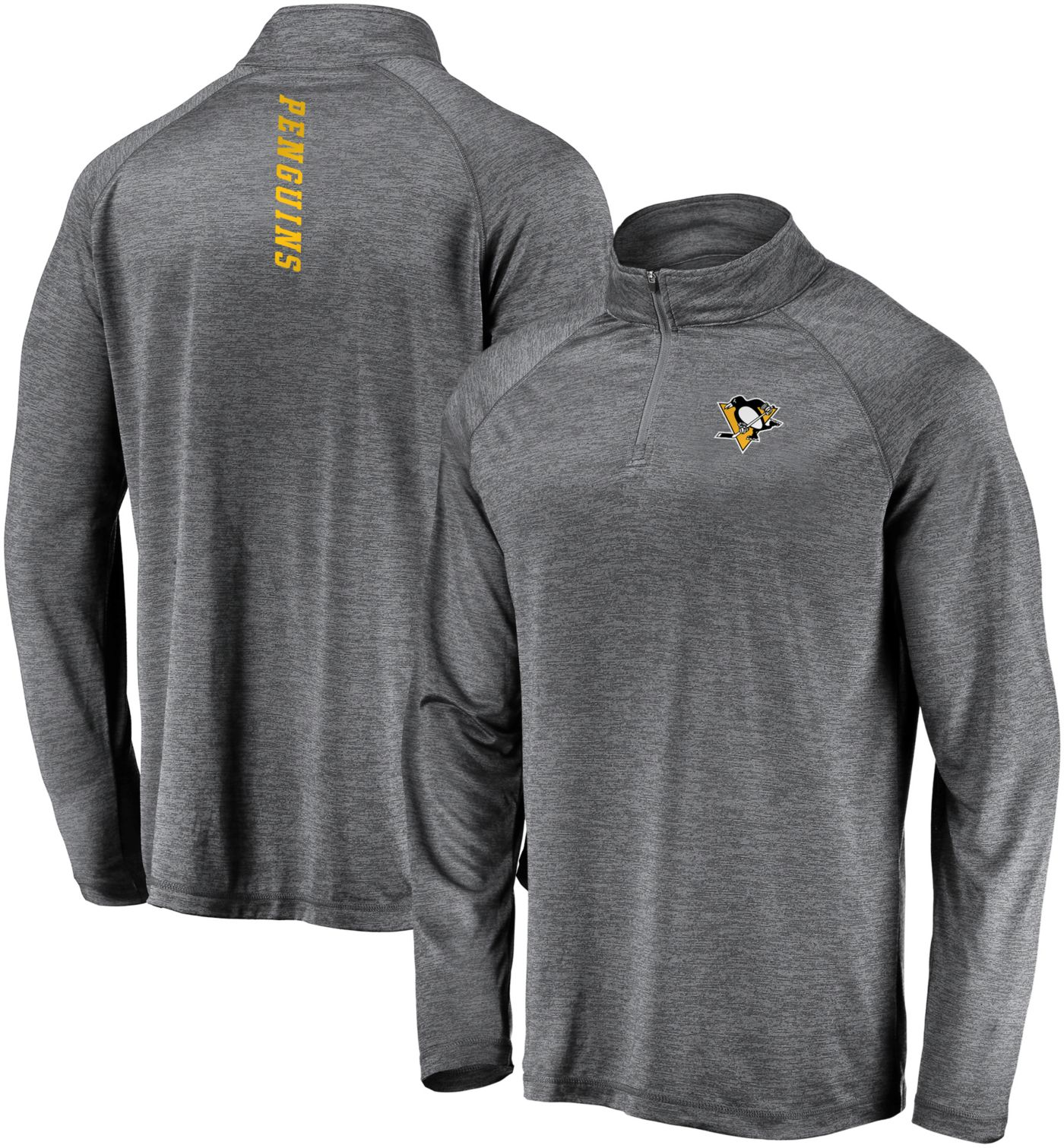 NHL Men's Pittsburgh Penguins Contend Heather Grey Quarter-Zip Pullover