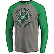 NHL Men's 2019 St. Patrick's Day Pittsburgh Penguins Luck Green Long Sleeve Shirt