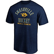 NHL Men's Nashville Predators Logo Navy Tri-Blend T-Shirt