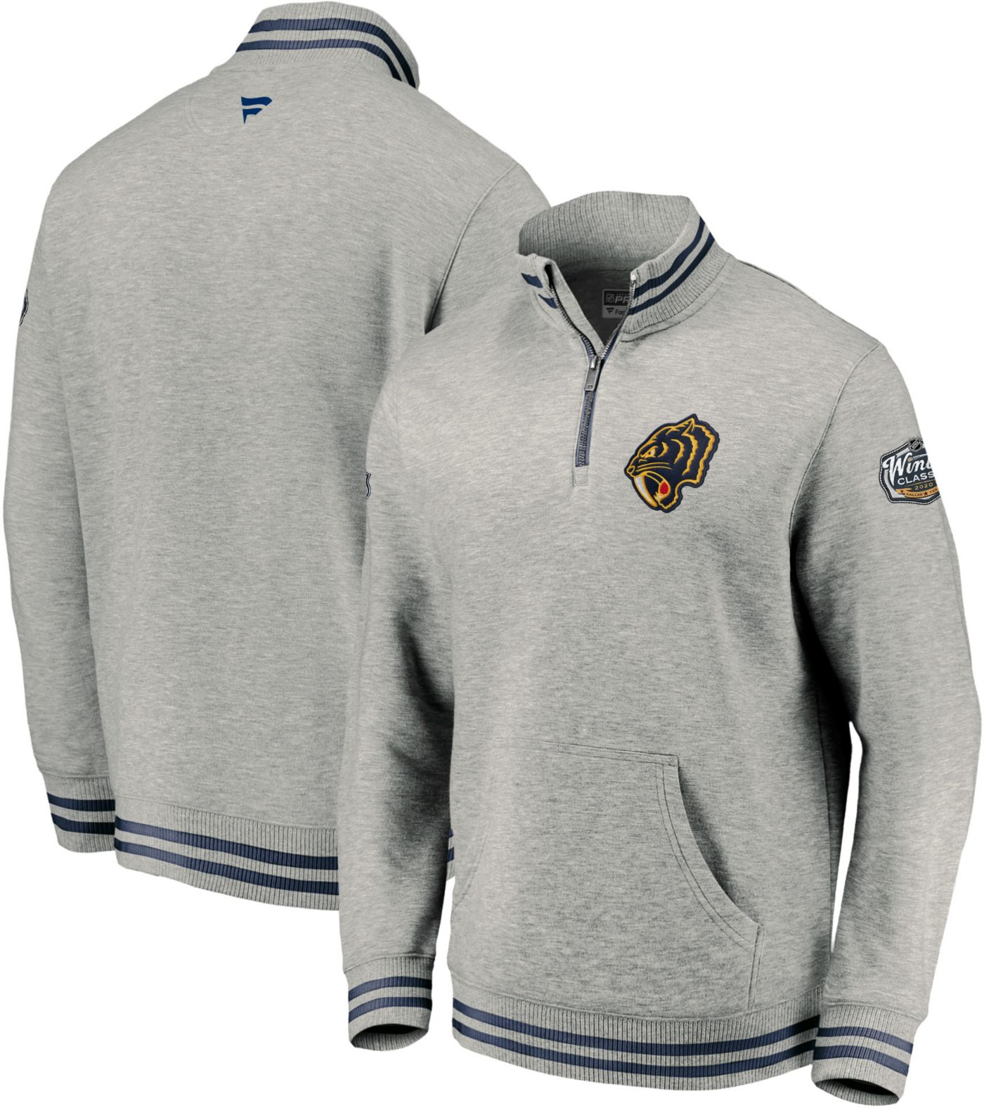 NHL Men's 2020 Winter Classic Nashville Predators Throwback Grey Quarter-Zip Pullover