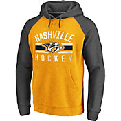 NHL Men's Nashville Predators Raglan Gold/Grey Pullover Hoodie