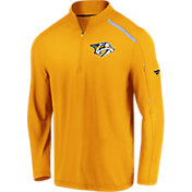 NHL Men's Nashville Predators Authentic Pro Clutch Gold Quarter-Zip Pullover