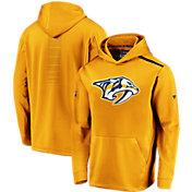 NHL Men's Nashville Predators Authentic Pro Rinkside Fleece Gold Pullover Hoodie