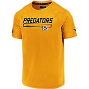 NHL Men's Nashville Predators Authentic Pro Rinkside Gold T-Shirt