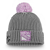 NHL Women's New York Rangers Hockey Fights Cancer Pom Knit Beanie