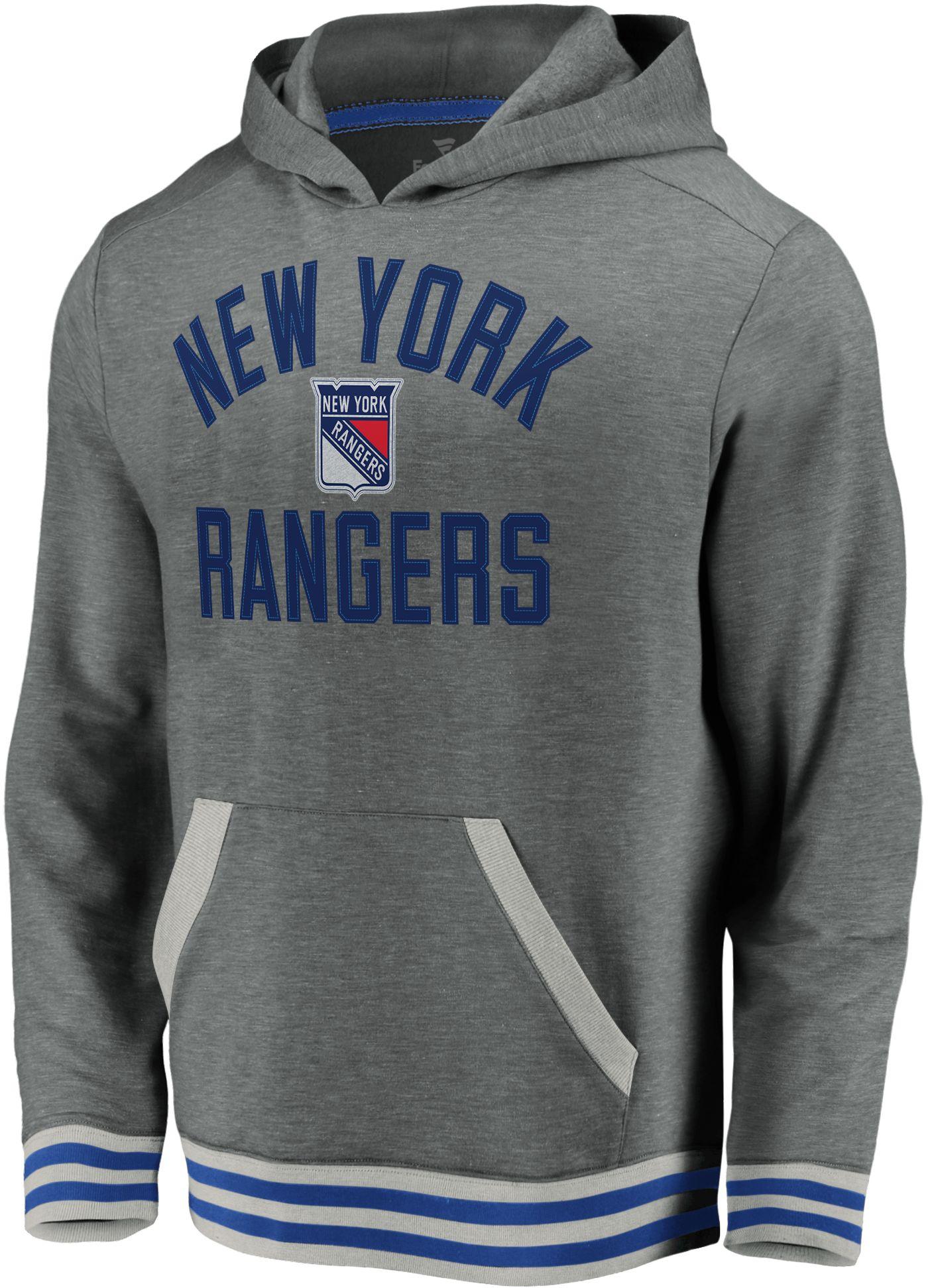 NHL Men's New York Rangers Upper Class Heather Grey Pullover Hoodie