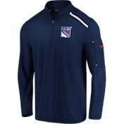 NHL Men's New York Rangers Authentic Pro Clutch Navy Quarter-Zip Pullover
