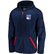NHL Men's New York Rangers Authentic Pro Rinkside Gridback Navy Full-Zip Hoodie