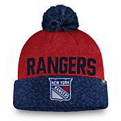 NHL Men's New York Rangers Fan Weave Pom Knit Beanie
