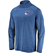NHL Men's New York Rangers Logo Royal Heathered Quarter-Zip Pullover