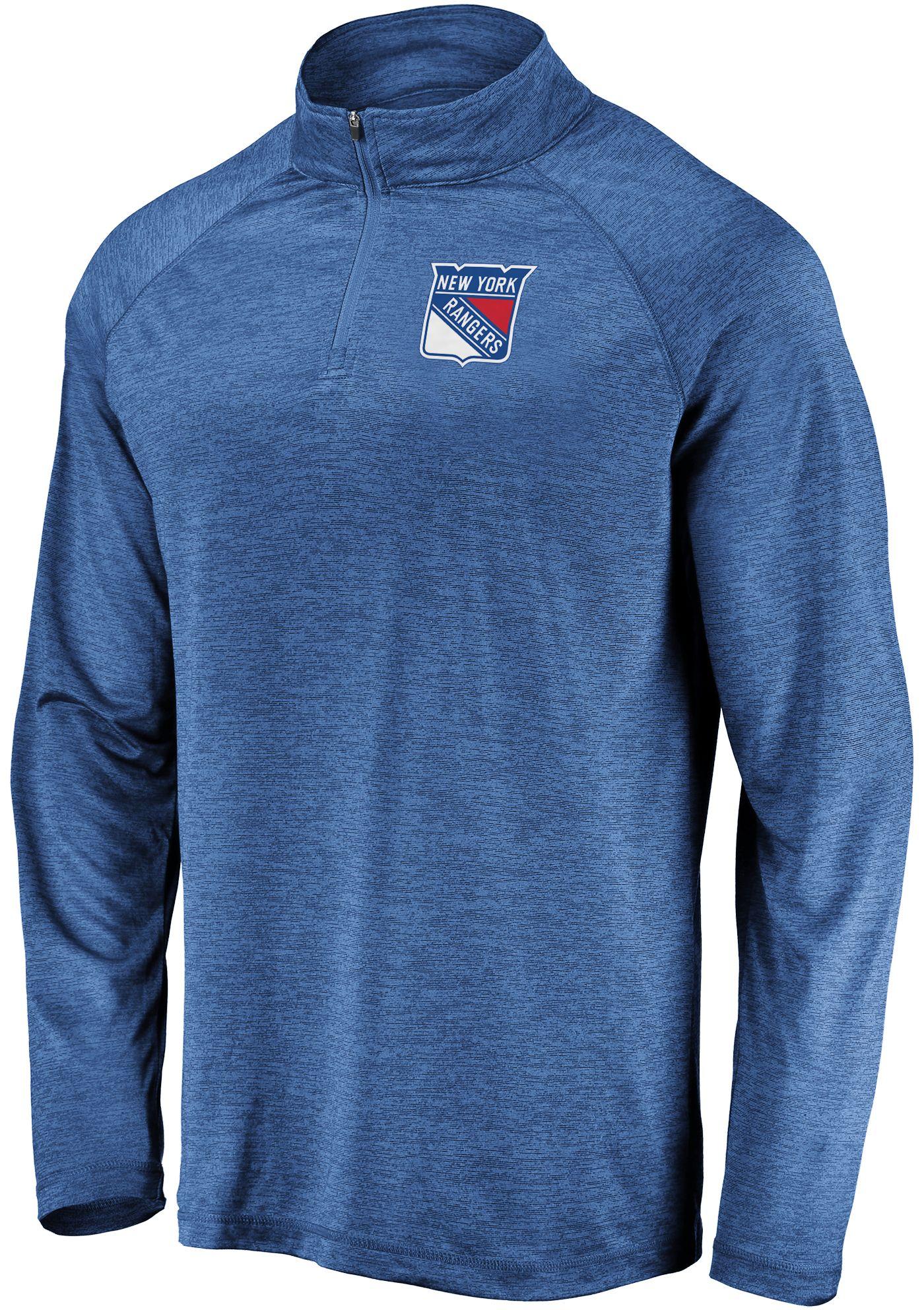NHL Men's New York Rangers Logo Royal Heathered Quarter-Zip Pullover