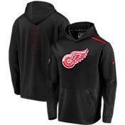 NHL Men's Detroit Red Wings Authentic Pro Rinkside Fleece Black Pullover Hoodie