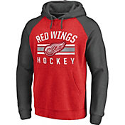 NHL Men's Detroit Red Wings Raglan Red/Grey Pullover Hoodie