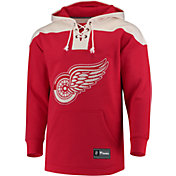 NHL Men's Detroit Red Wings Lace Up Red Pullover Hoodie