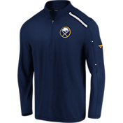 NHL Men's Buffalo Sabres Authentic Pro Clutch Navy Quarter-Zip Pullover