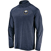 NHL Men's Buffalo Sabres Logo Navy Heathered Quarter-Zip Pullover
