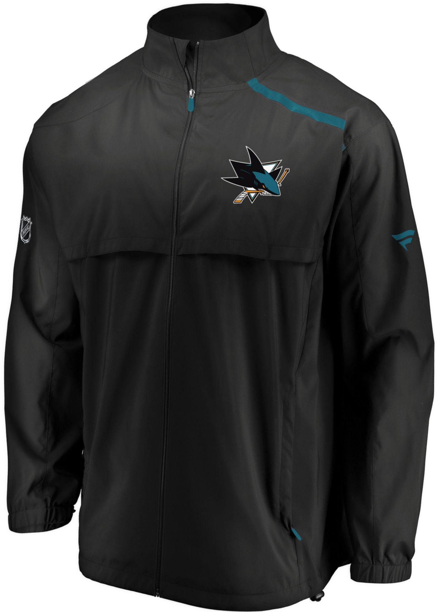 NHL Men's San Jose Sharks Authentic Pro Rinkside Black Full-Zip Jacket