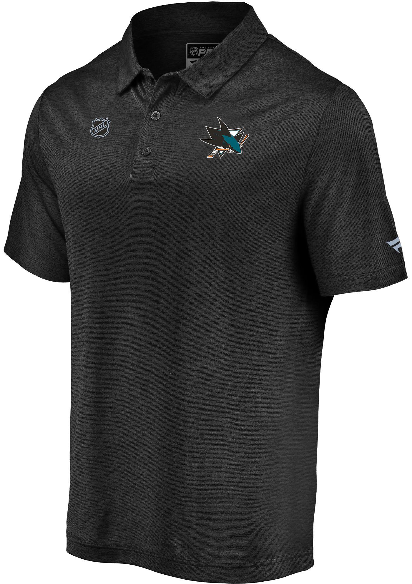 NHL Men's San Jose Sharks Authentic Pro Striated Black Polo