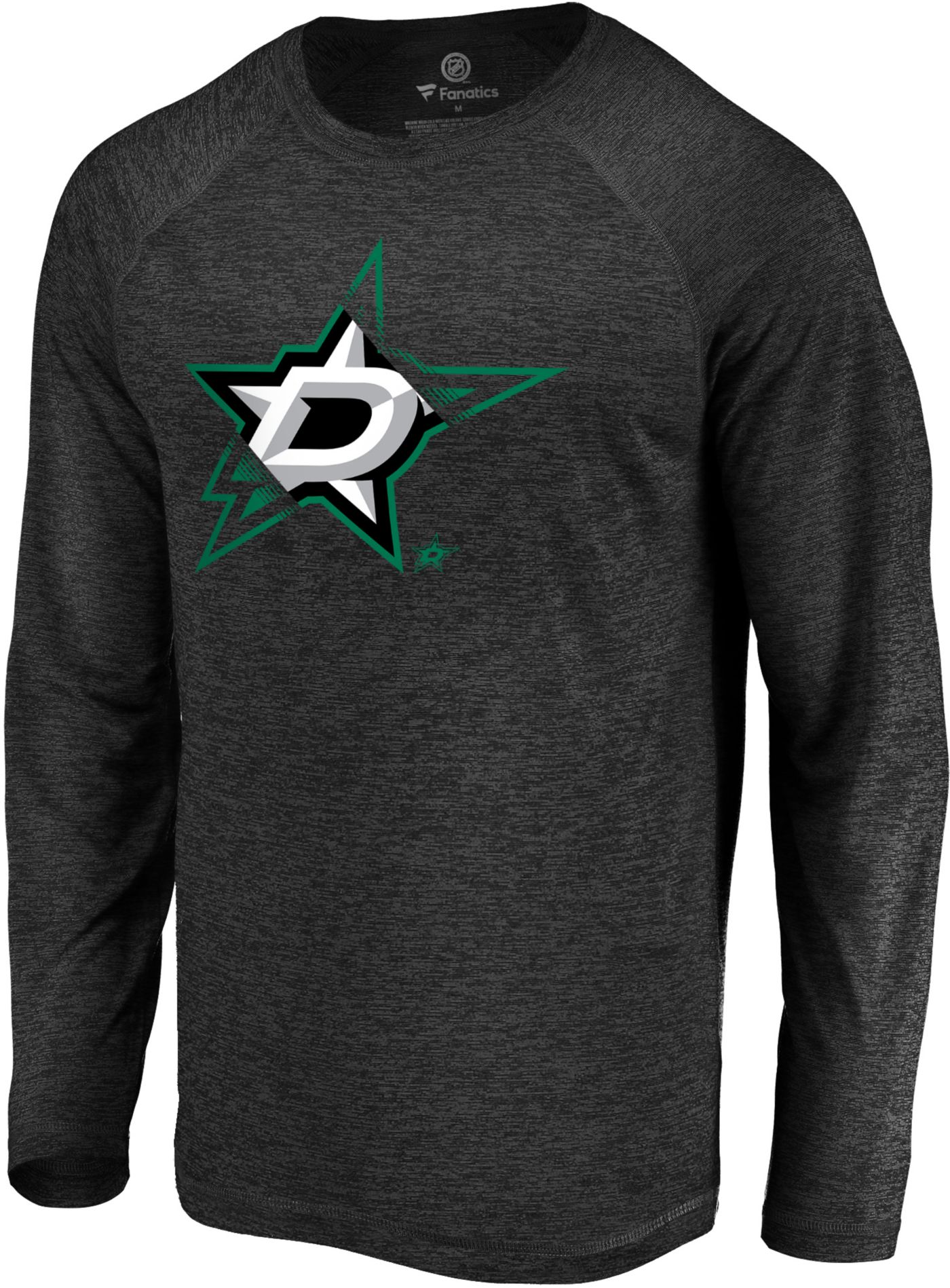 NHL Men's Dallas Stars Vital Black Heathered Long Sleeve Shirt