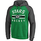 NHL Men's Dallas Stars Raglan Green/Grey Pullover Hoodie