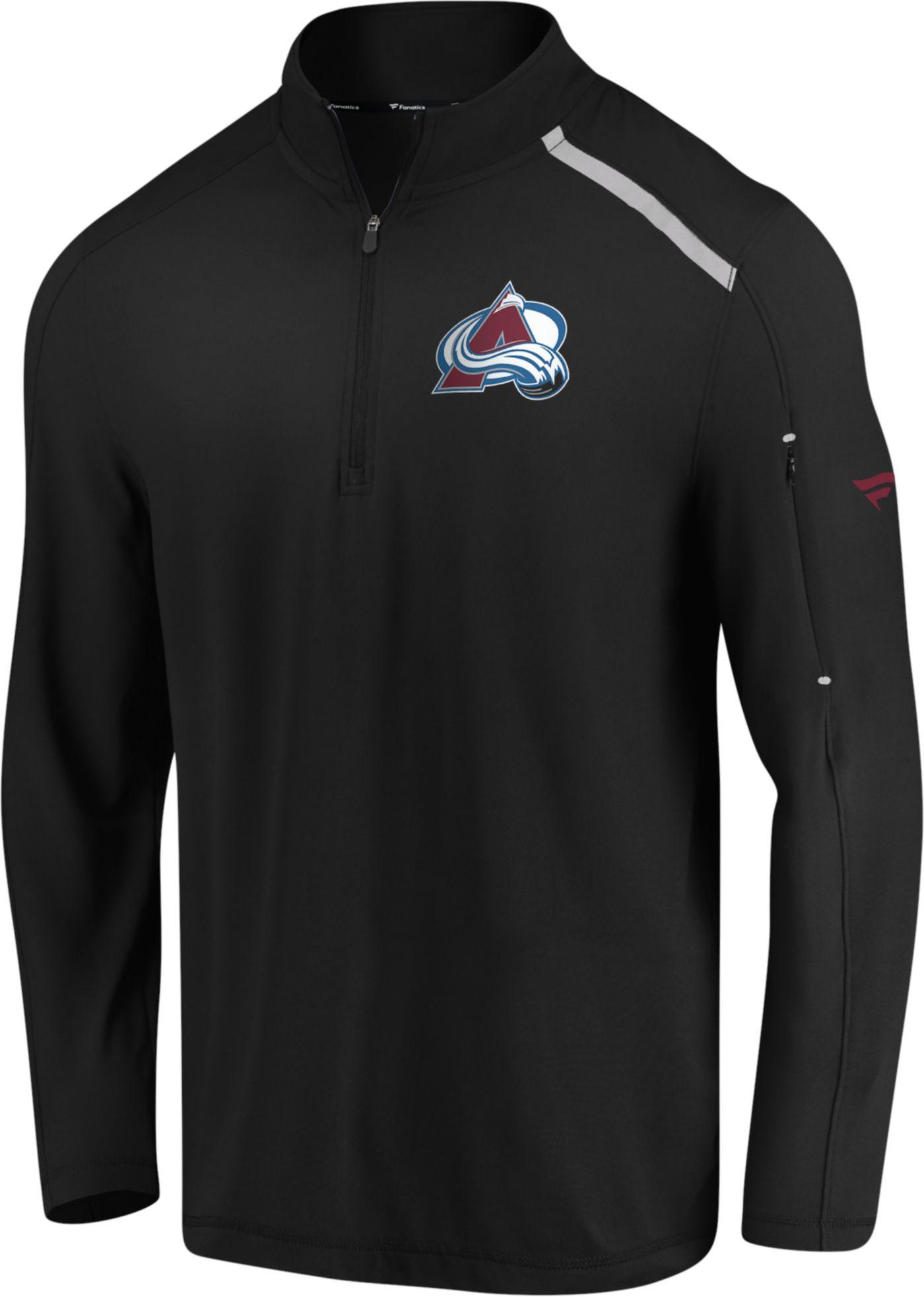 NHL Men's Colorado Avalanche Authentic Pro Clutch Black Quarter-Zip Pullover