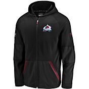 NHL Men's Colorado Avalanche Authentic Pro Rinkside Gridback Black Full-Zip Hoodie