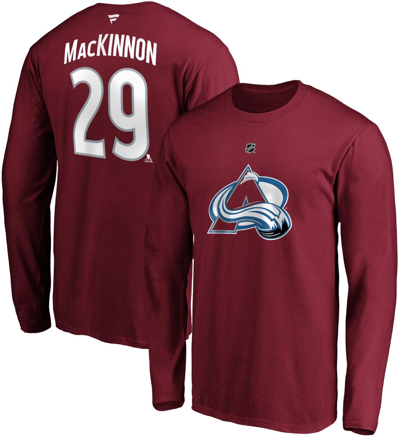 NHL Men's Colorado Avalanche Nathan MacKinnon #29 Maroon Long Sleeve Player Shirt