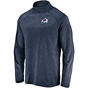 NHL Men's Colorado Avalanche Logo Navy Heathered Quarter-Zip Pullover
