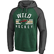 NHL Men's Minnesota Wild Raglan Green/Grey Pullover Hoodie
