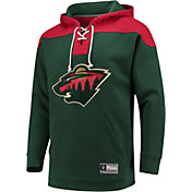 NHL Men's Minnesota Wild Lace Up Green Pullover Hoodie