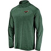 NHL Men's Minnesota Wild Logo Green Heathered Quarter-Zip Pullover