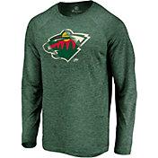 NHL Men's Minnesota Wild Vital Green Heathered Long Sleeve Shirt
