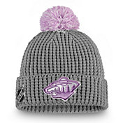 NHL Women's Minnesota Wild Hockey Fights Cancer Pom Knit Beanie