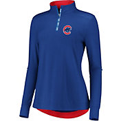 Fanatics Women's Chicago Cubs Royal Iconic Long Sleeve Quarter-Zip Shirt