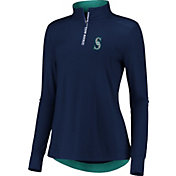 Fanatics Women's Seattle Mariners Navy Iconic Long Sleeve Quarter-Zip Shirt